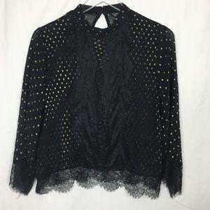 Top Shop Black & Gold Sheer Lace Blouse NWOT